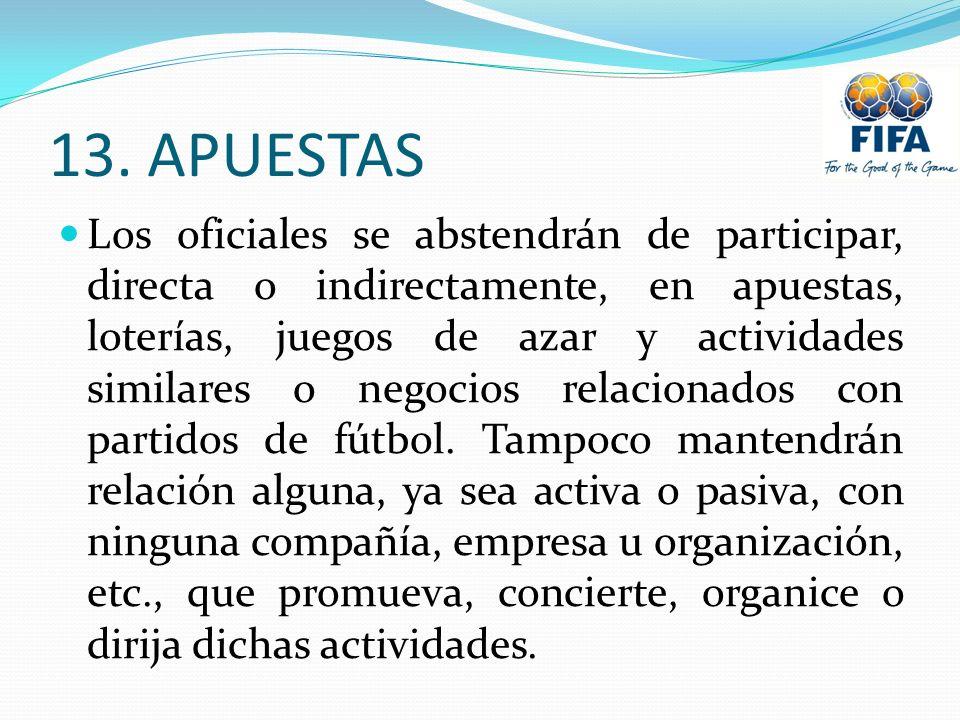 13. APUESTAS Los oficiales se abstendrán de participar, directa o indirectamente, en apuestas, loterías, juegos de azar y actividades similares o nego