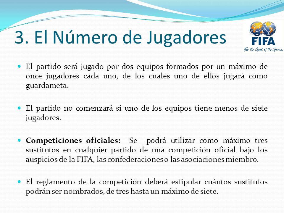 3. El Número de Jugadores El partido será jugado por dos equipos formados por un máximo de once jugadores cada uno, de los cuales uno de ellos jugará