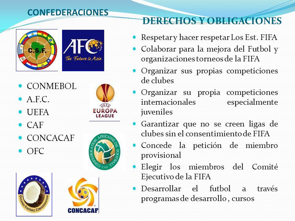 CONFEDERACIONES DERECHOS Y OBLIGACIONES CONMEBOL A.F.C. UEFA CAF CONCACAF OFC Respetar y hacer respetar Los Est. FIFA Colaborar para la mejora del Fut