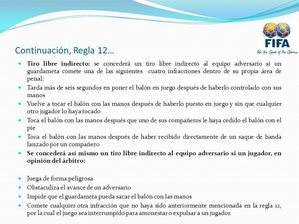 Continuación, Regla 12… Tiro libre indirecto: se concederá un tiro libre indirecto al equipo adversario si un guardameta comete una de las siguientes