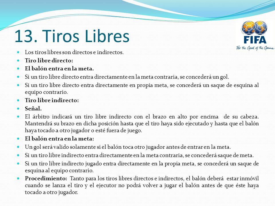 13.Tiros Libres Los tiros libres son directos e indirectos.