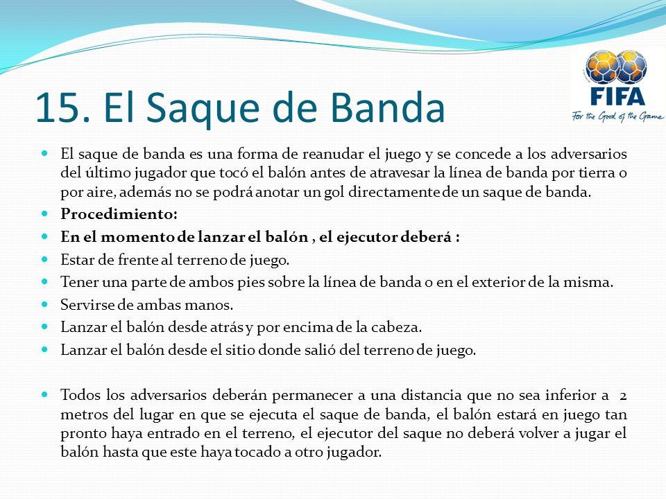 15. El Saque de Banda El saque de banda es una forma de reanudar el juego y se concede a los adversarios del último jugador que tocó el balón antes de