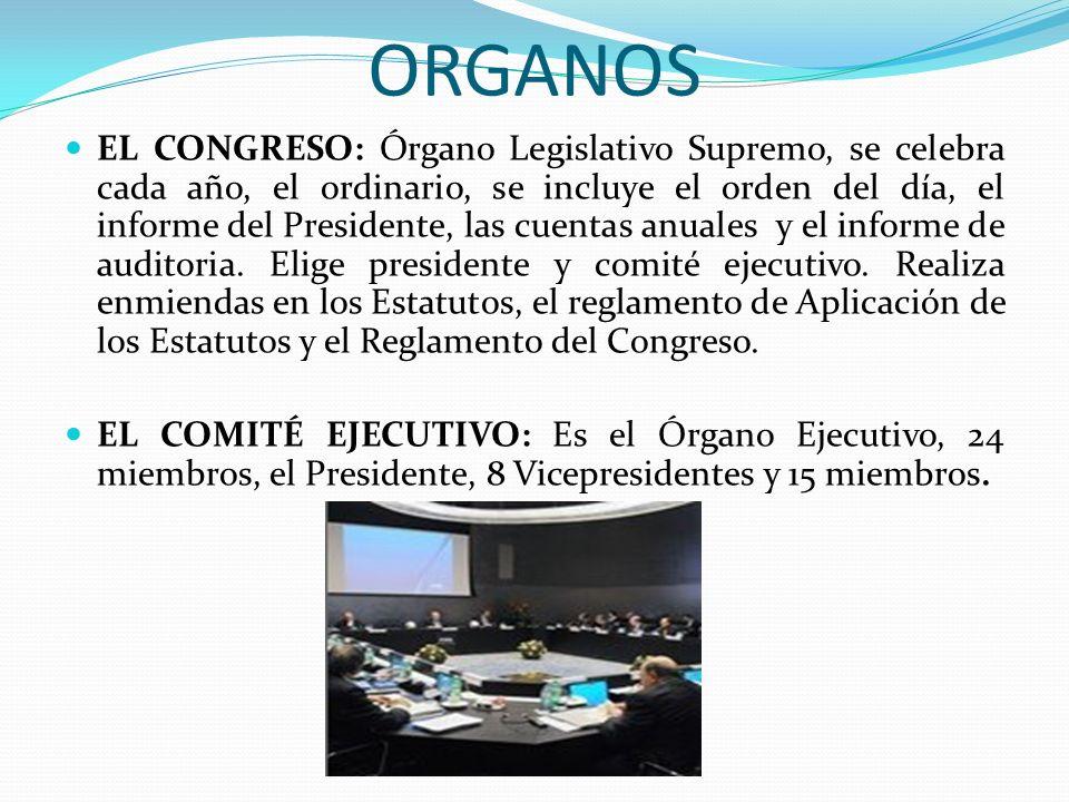 ORGANOS EL CONGRESO: Órgano Legislativo Supremo, se celebra cada año, el ordinario, se incluye el orden del día, el informe del Presidente, las cuentas anuales y el informe de auditoria.