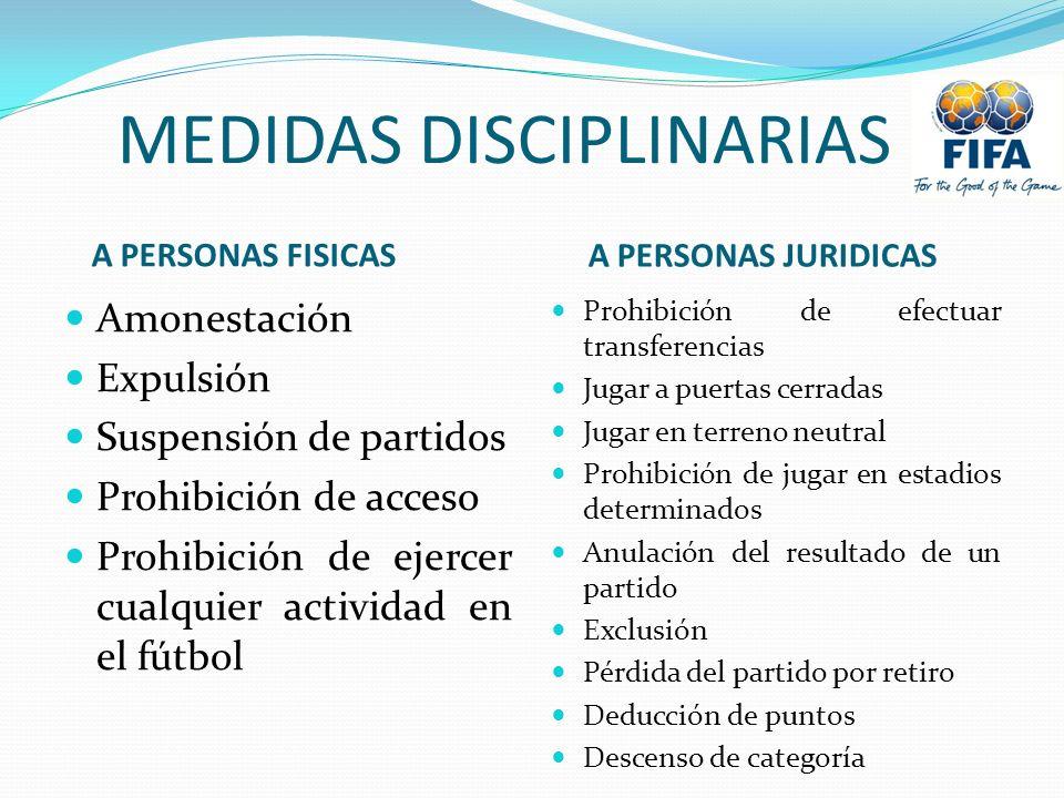 MEDIDAS DISCIPLINARIAS A PERSONAS FISICAS A PERSONAS JURIDICAS Amonestación Expulsión Suspensión de partidos Prohibición de acceso Prohibición de ejer