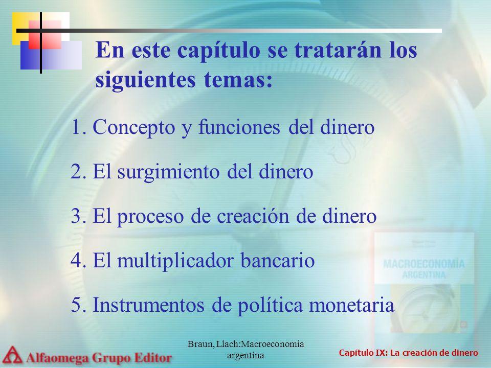 Braun, Llach:Macroeconomia argentina 1. Concepto y funciones del dinero 2. El surgimiento del dinero 3. El proceso de creación de dinero 4. El multipl