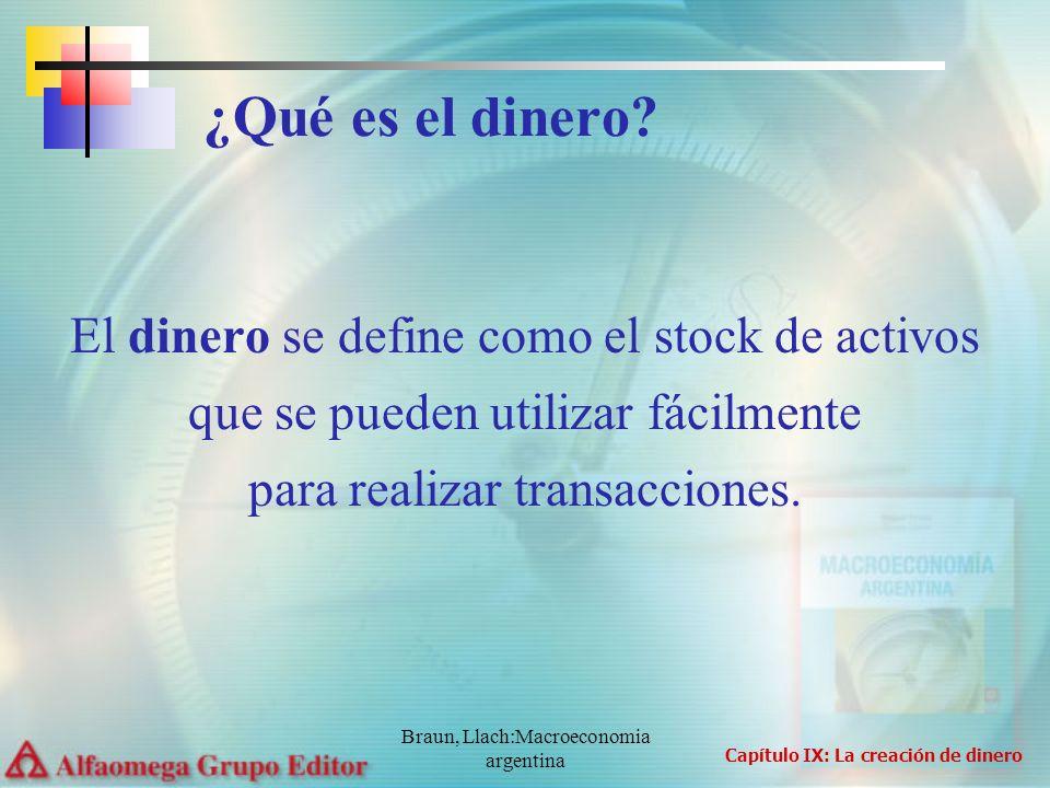Braun, Llach:Macroeconomia argentina El dinero se define como el stock de activos que se pueden utilizar fácilmente para realizar transacciones. ¿Qué