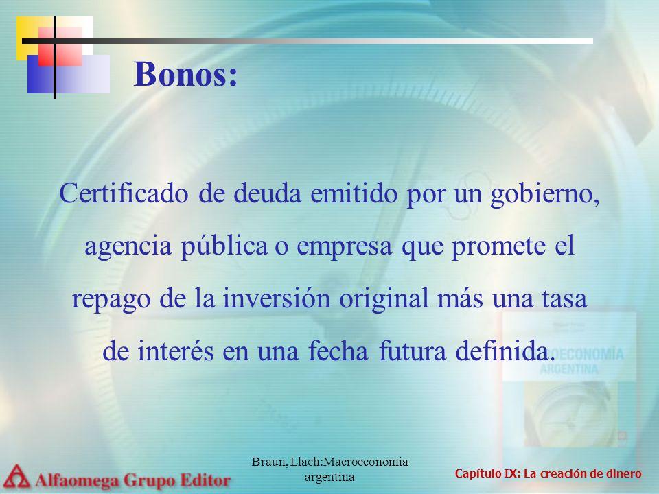 Braun, Llach:Macroeconomia argentina Certificado de deuda emitido por un gobierno, agencia pública o empresa que promete el repago de la inversión ori