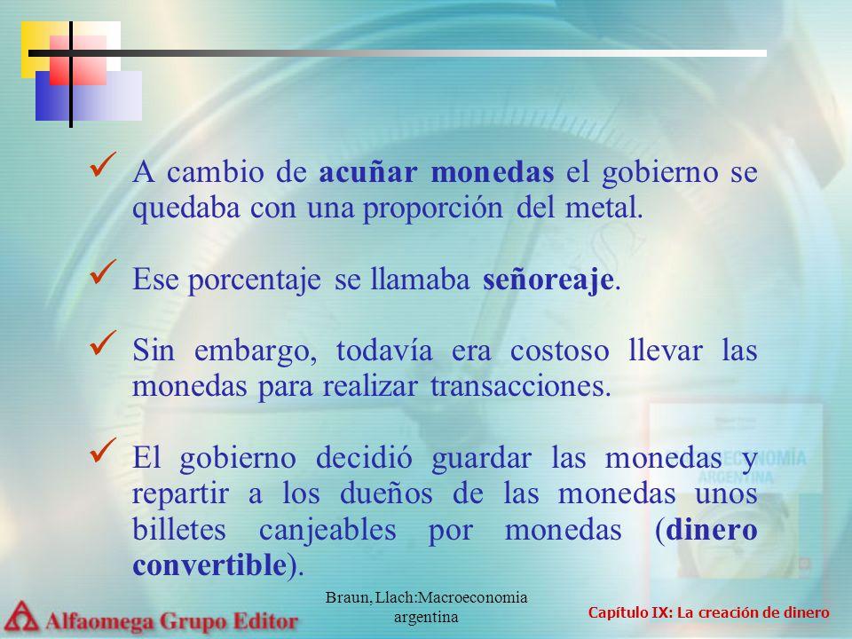 Braun, Llach:Macroeconomia argentina A cambio de acuñar monedas el gobierno se quedaba con una proporción del metal. Ese porcentaje se llamaba señorea