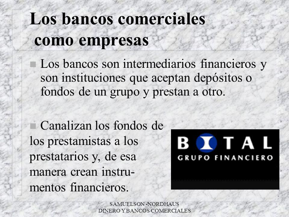 SAMUELSON -NORDHAUS DINERO Y BANCOS COMERCIALES Los bancos comerciales como empresas n Los bancos son intermediarios financieros y son instituciones q