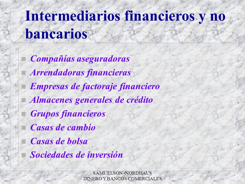 SAMUELSON -NORDHAUS DINERO Y BANCOS COMERCIALES Intermediarios financieros y no bancarios n Compañías aseguradoras n Arrendadoras financieras n Empres