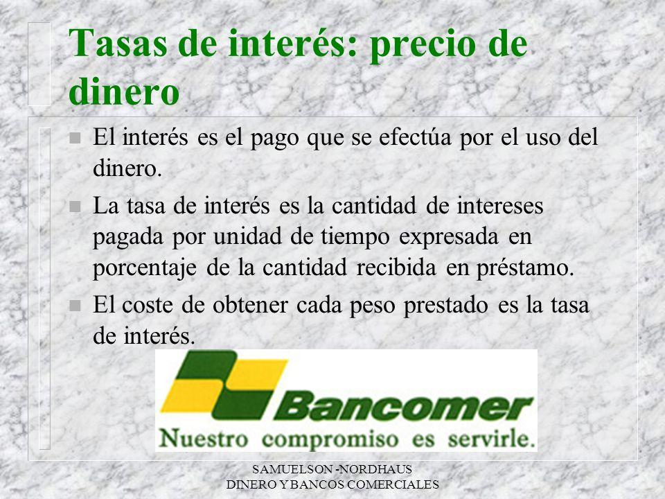 SAMUELSON -NORDHAUS DINERO Y BANCOS COMERCIALES Tasas de interés: precio de dinero n El interés es el pago que se efectúa por el uso del dinero. n La