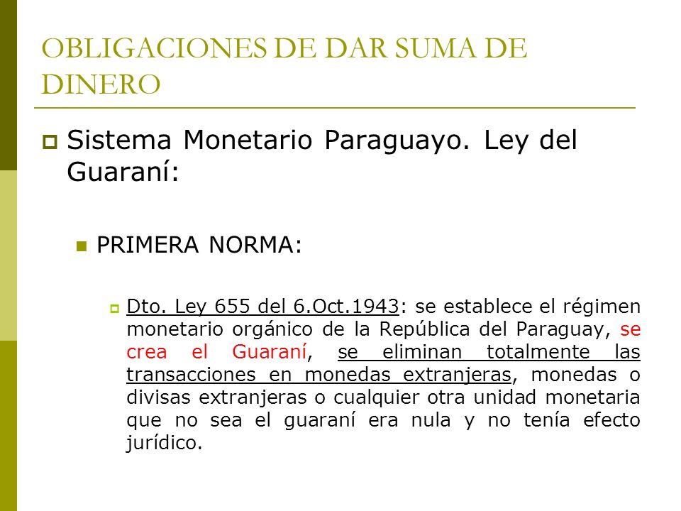 OBLIGACIONES DE DAR SUMA DE DINERO Sistema Monetario Paraguayo.