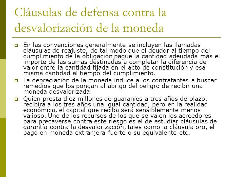 OBLIGACIONES DE DAR SUMA DE DINERO CLAUSULA ORO.