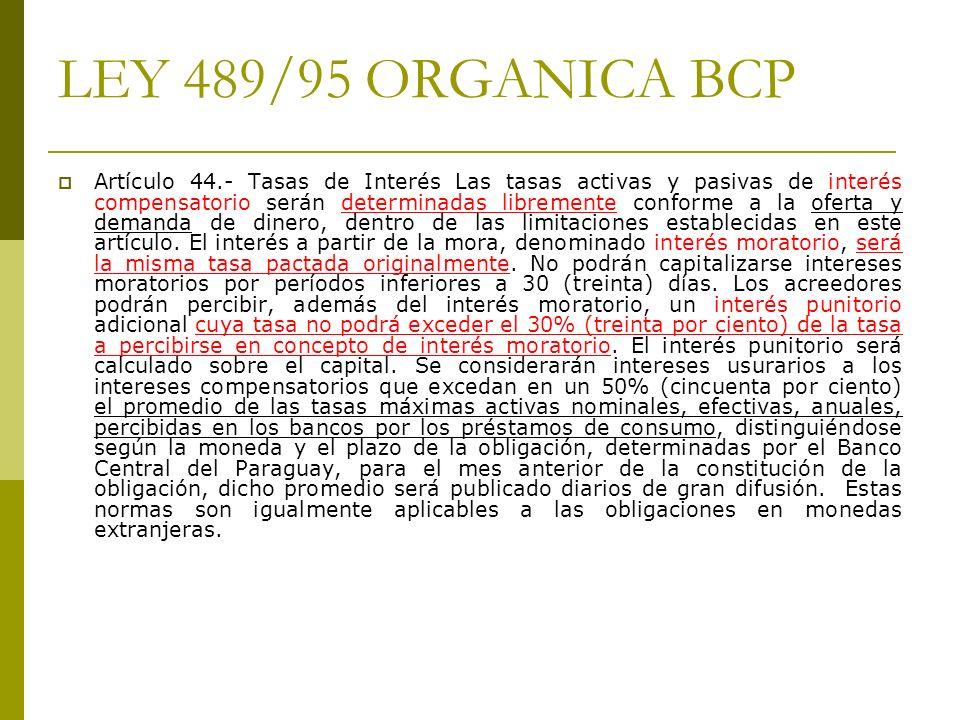 LEY 2339/03 LEY Nº 2.339/03 QUE MODIFICA EL ARTÍCULO 44 DE LA LEY Nº 489/95 ORGÁNICA DEL BANCO CENTRAL DEL PARAGUAY EL CONGRESO DE LA NACIÓN PARAGUAYA SANCIONA CON FUERZA DE LEY: Artículo 1º.- Modificase el artículo 44 de la Ley Nº 489/95 ORGÁNICA DEL BANCO CENTRAL DEL PARAGUAY , que queda redactado de la siguiente forma:artículo 44 de la Ley Nº 489/95 ORGÁNICA DEL BANCO CENTRAL DEL PARAGUAY Artículo 44.- Las tasas de interés compensatorias, sobre operaciones activas o pasivas, en moneda nacional o en moneda extranjera, serán determinadas libremente conforme a la oferta y la demanda de dinero, dentro de las limitaciones establecidas en este artículo.