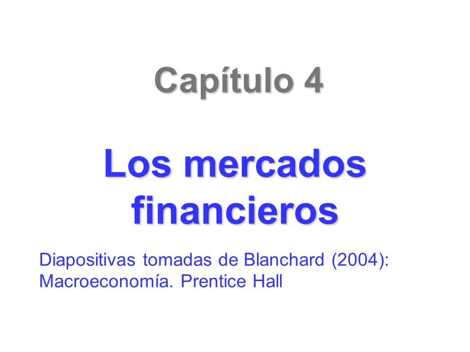 Capítulo 4 Los mercados financieros Diapositivas tomadas de Blanchard (2004): Macroeconomía. Prentice Hall
