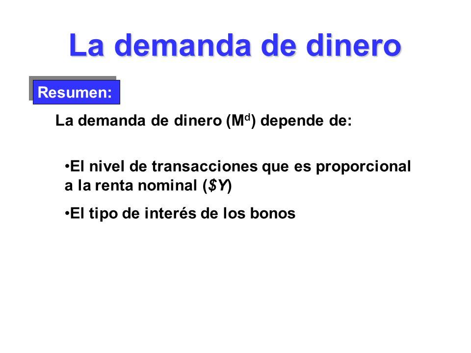 La demanda de dinero Resumen: La demanda de dinero (M d ) depende de: El nivel de transacciones que es proporcional a la renta nominal ($Y) El tipo de