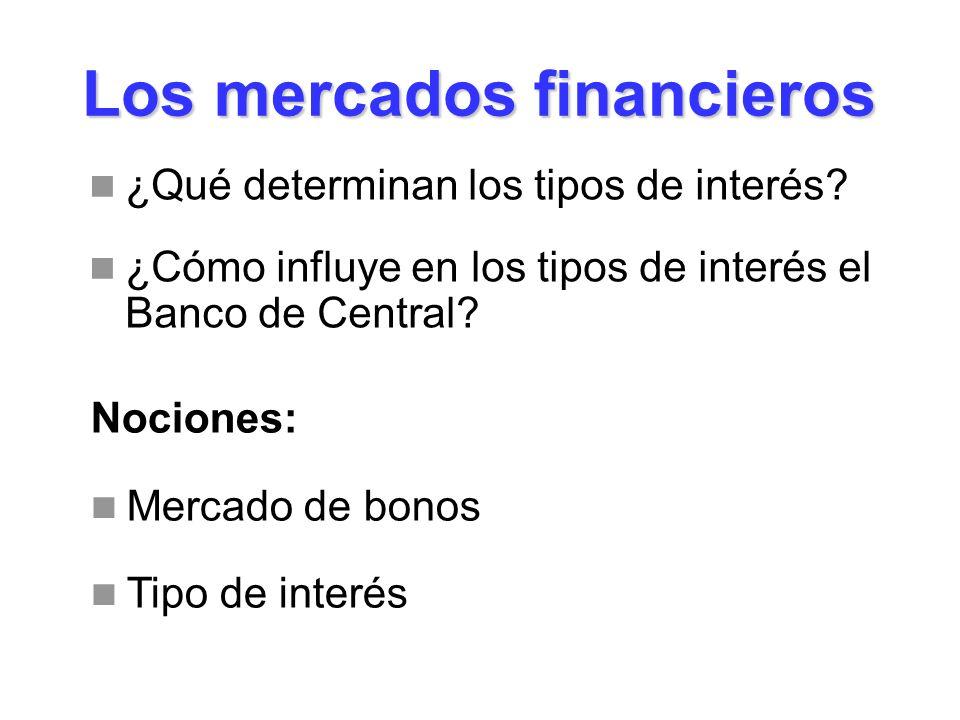Los mercados financieros ¿Qué determinan los tipos de interés? ¿Cómo influye en los tipos de interés el Banco de Central? Nociones: Mercado de bonos T