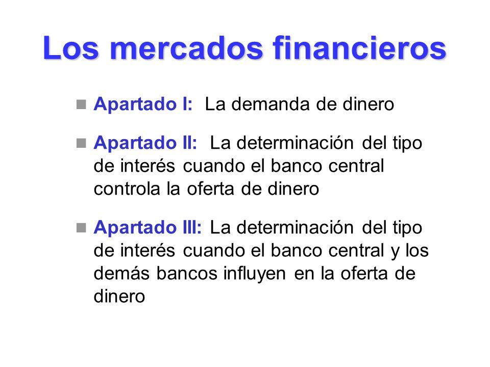 Los mercados financieros Apartado I: La demanda de dinero Apartado II: La determinación del tipo de interés cuando el banco central controla la oferta