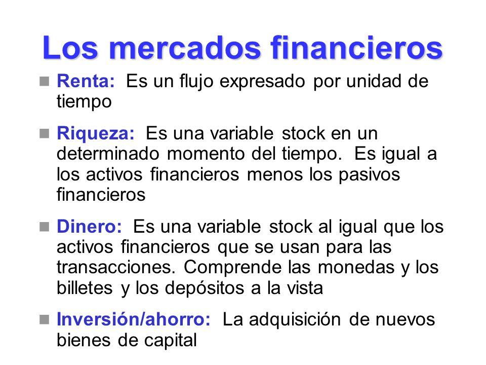 Los mercados financieros Renta: Es un flujo expresado por unidad de tiempo Riqueza: Es una variable stock en un determinado momento del tiempo. Es igu