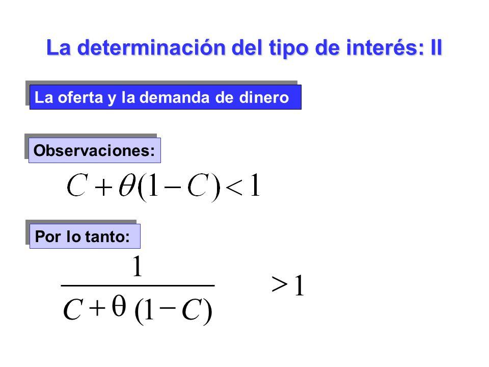 La oferta y la demanda de dinero La determinación del tipo de interés: II Observaciones: Por lo tanto: 1 )1( 1 CC