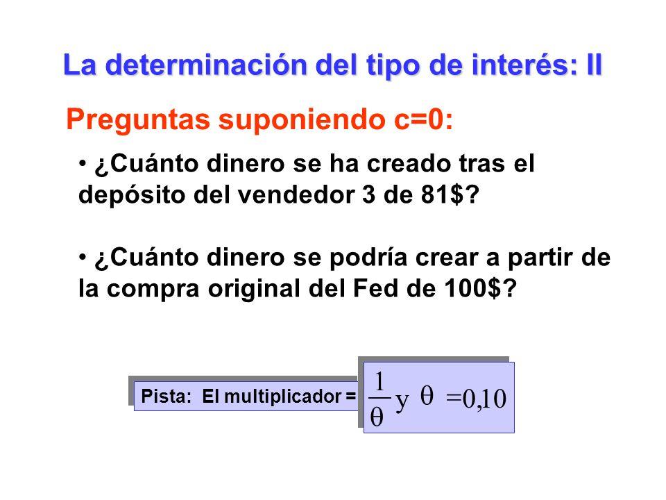 La determinación del tipo de interés: II Preguntas suponiendo c=0: ¿Cuánto dinero se ha creado tras el depósito del vendedor 3 de 81$? ¿Cuánto dinero