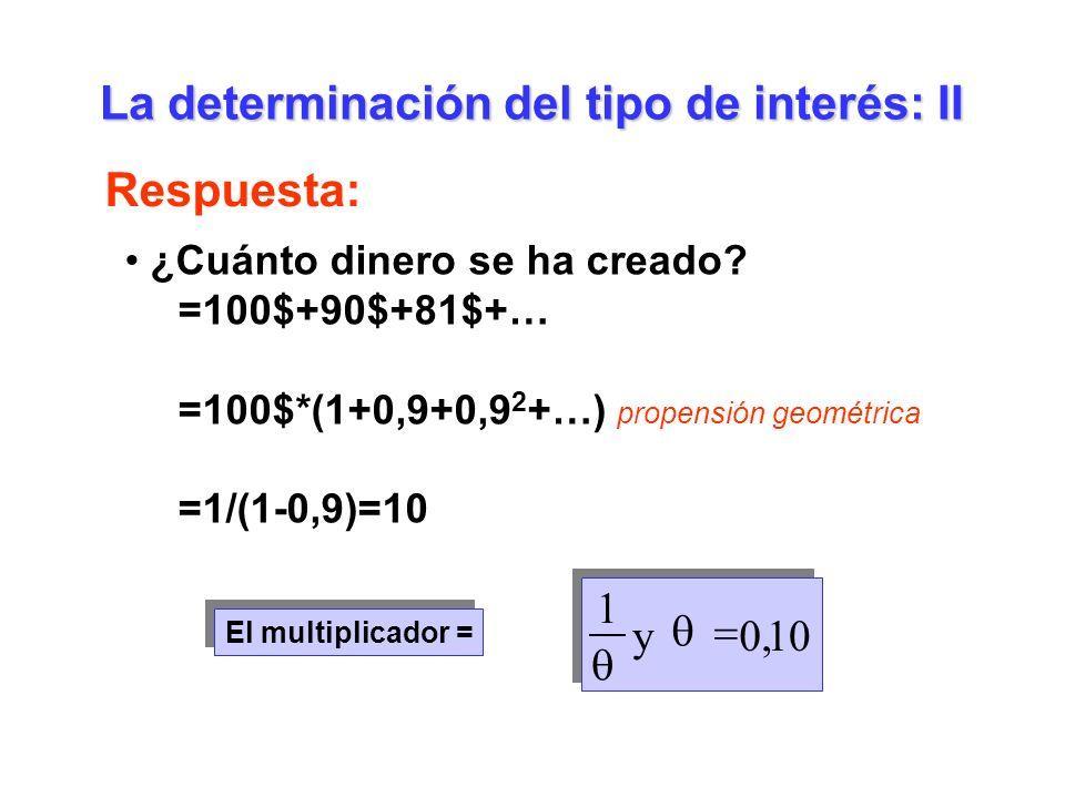 La determinación del tipo de interés: II Respuesta: ¿Cuánto dinero se ha creado? =100$+90$+81$+… =100$*(1+0,9+0,9 2 +…) propensión geométrica =1/(1-0,