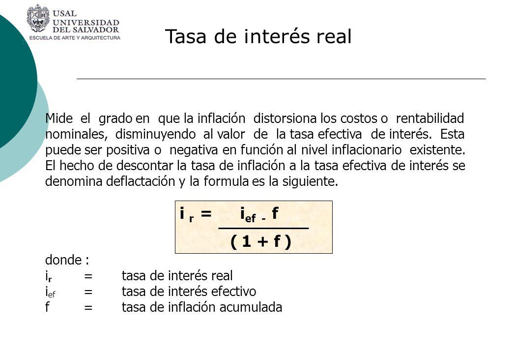 Mide el grado en que la inflación distorsiona los costos o rentabilidad nominales, disminuyendo al valor de la tasa efectiva de interés. Esta puede se