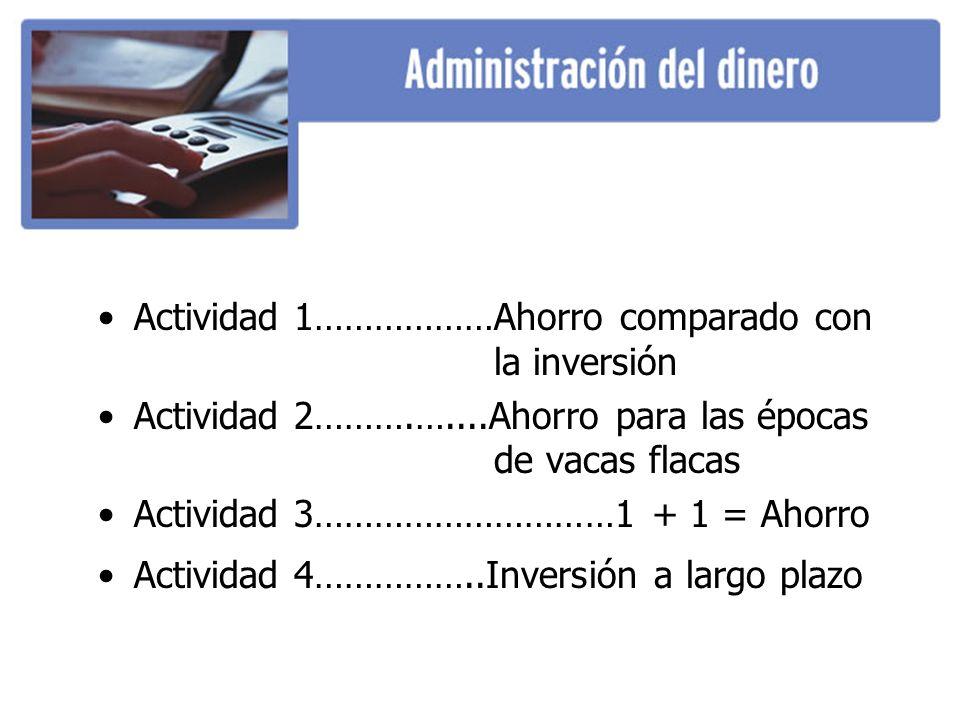 Actividad 1………………Ahorro comparado con la inversión Actividad 2……….…....Ahorro para las épocas de vacas flacas Actividad 3…………………………1 + 1 = Ahorro Acti