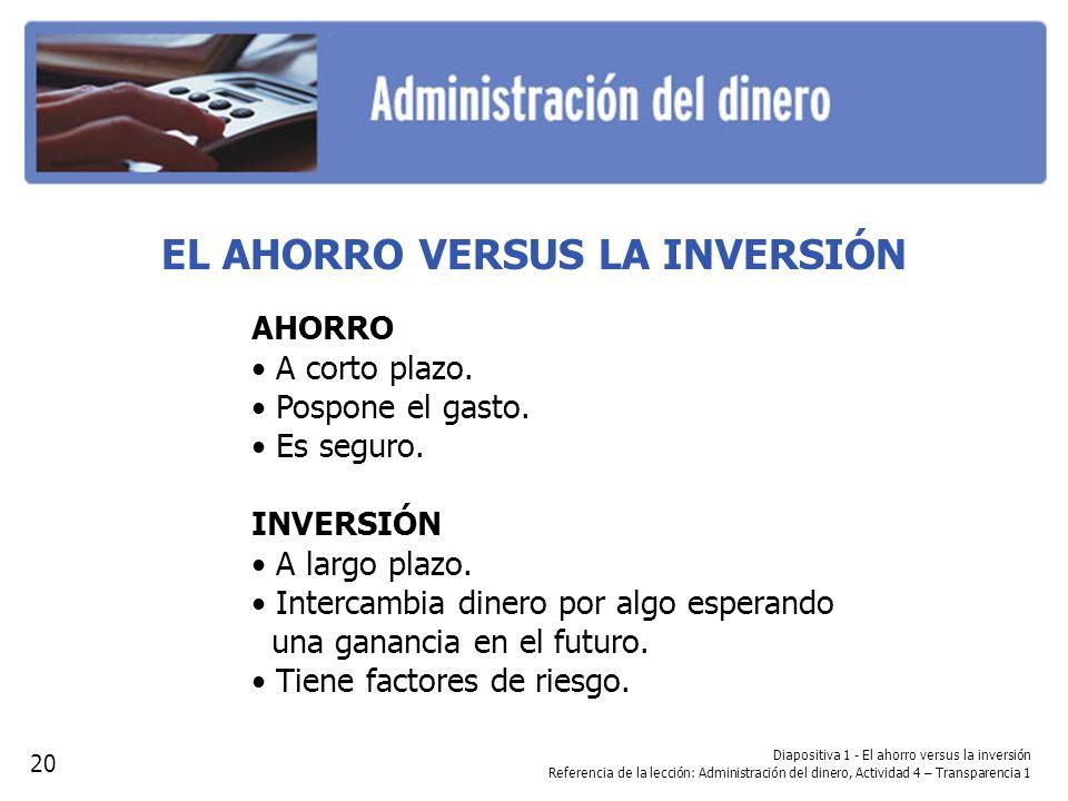 Diapositiva 1 - El ahorro versus la inversión Referencia de la lección: Administración del dinero, Actividad 4 – Transparencia 1 EL AHORRO VERSUS LA I