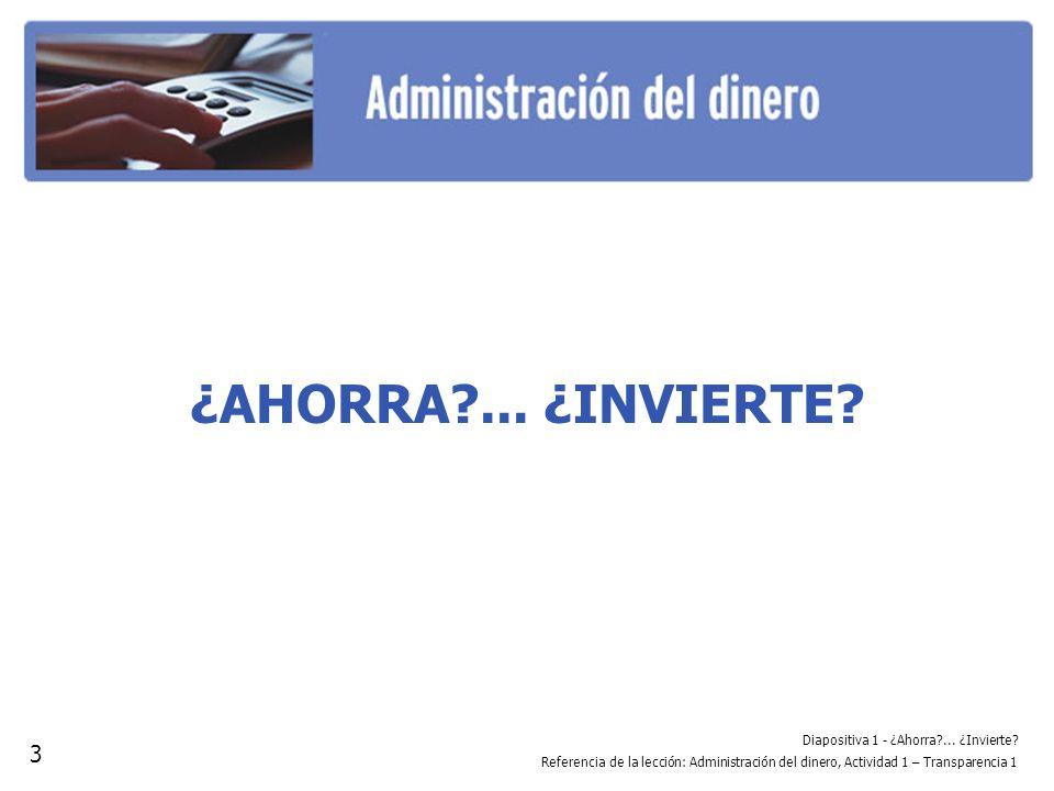 Diapositiva 2 - El ahorro versus la inversión Referencia de la lección: Administración del dinero, Actividad 1 – Transparencia 2 EL AHORRO VERSUS LA INVERSIÓN Ahorro A corto plazo.