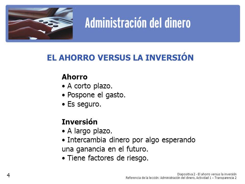 Diapositiva 2 - El ahorro versus la inversión Referencia de la lección: Administración del dinero, Actividad 1 – Transparencia 2 EL AHORRO VERSUS LA I