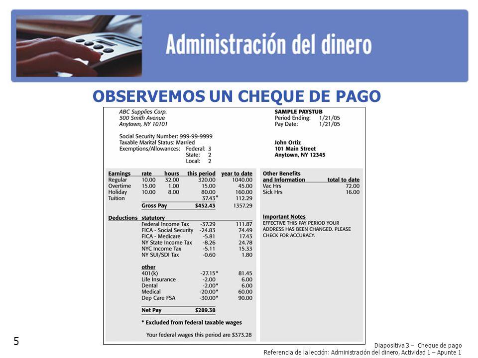 OBSERVEMOS UN CHEQUE DE PAGO Diapositiva 3 – Cheque de pago Referencia de la lección: Administración del dinero, Actividad 1 – Apunte 1 5