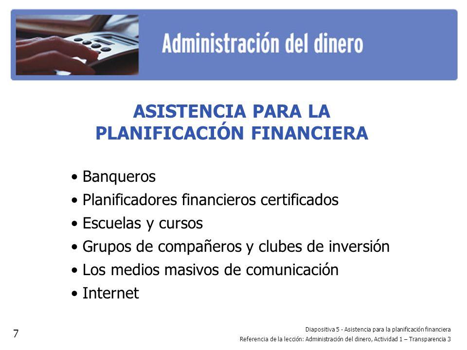 Diapositiva 5 - Asistencia para la planificación financiera Referencia de la lección: Administración del dinero, Actividad 1 – Transparencia 3 ASISTEN