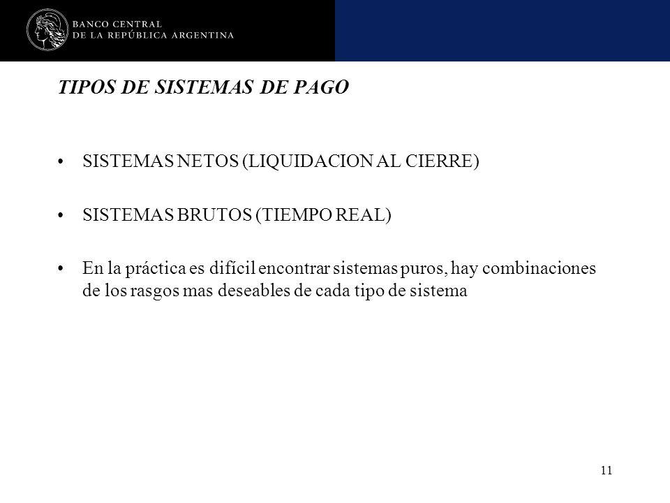 Nombre de la presentación en cuerpo 17 11 TIPOS DE SISTEMAS DE PAGO SISTEMAS NETOS (LIQUIDACION AL CIERRE) SISTEMAS BRUTOS (TIEMPO REAL) En la práctic