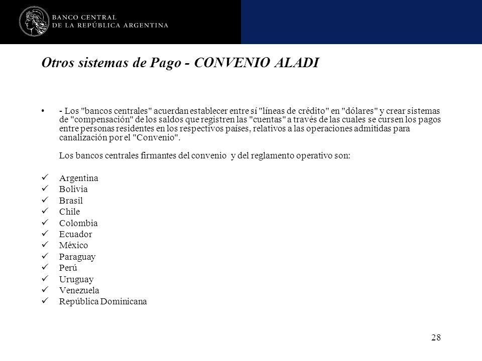Nombre de la presentación en cuerpo 17 28 Otros sistemas de Pago - CONVENIO ALADI - Los