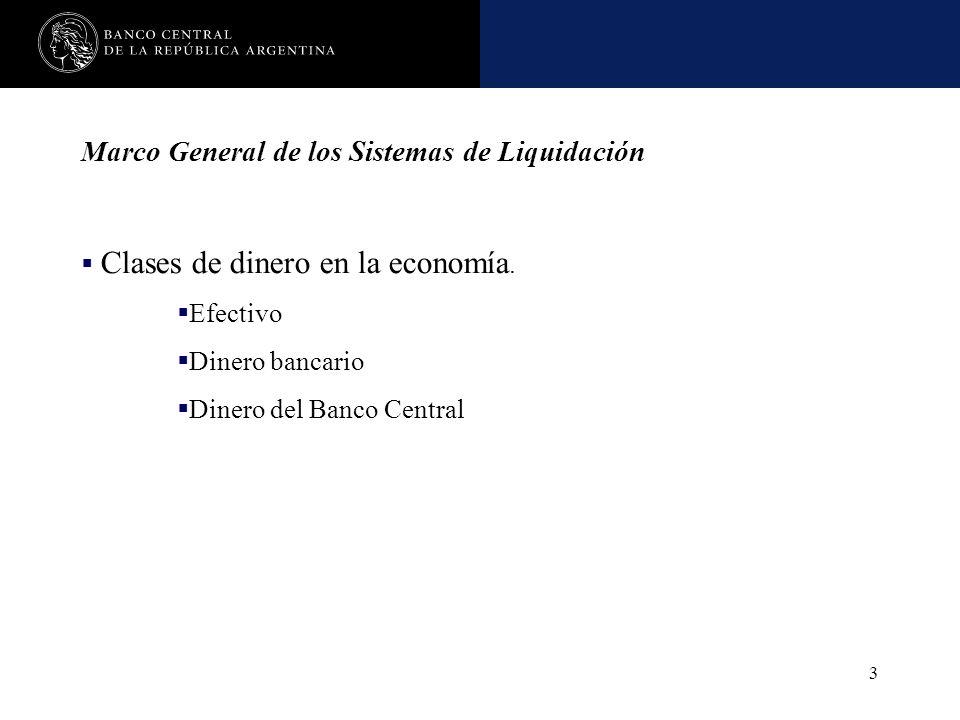 Nombre de la presentación en cuerpo 17 3 Marco General de los Sistemas de Liquidación Clases de dinero en la economía. Efectivo Dinero bancario Dinero