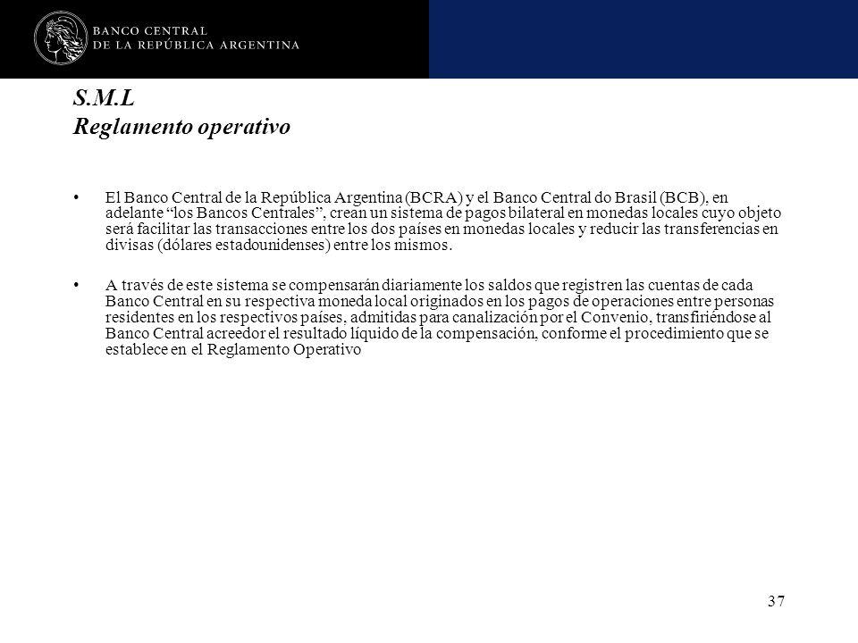 Nombre de la presentación en cuerpo 17 37 S.M.L Reglamento operativo El Banco Central de la República Argentina (BCRA) y el Banco Central do Brasil (B