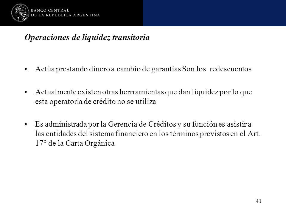 Nombre de la presentación en cuerpo 17 41 Operaciones de liquidez transitoria Actúa prestando dinero a cambio de garantías Son los redescuentos Actual