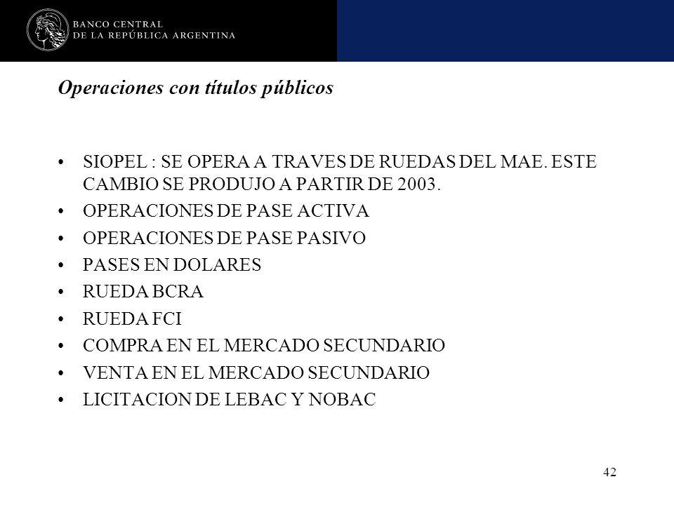 Nombre de la presentación en cuerpo 17 42 Operaciones con títulos públicos SIOPEL : SE OPERA A TRAVES DE RUEDAS DEL MAE. ESTE CAMBIO SE PRODUJO A PART