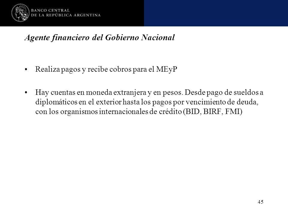 Nombre de la presentación en cuerpo 17 45 Agente financiero del Gobierno Nacional Realiza pagos y recibe cobros para el MEyP Hay cuentas en moneda ext