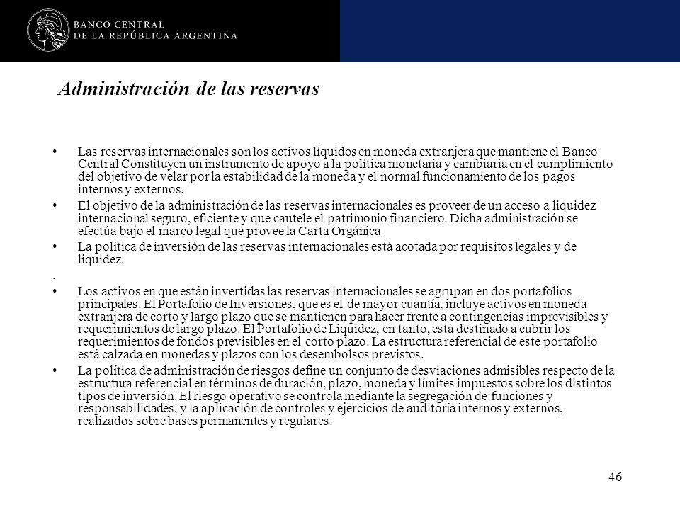 Nombre de la presentación en cuerpo 17 46 Administración de las reservas Las reservas internacionales son los activos líquidos en moneda extranjera qu