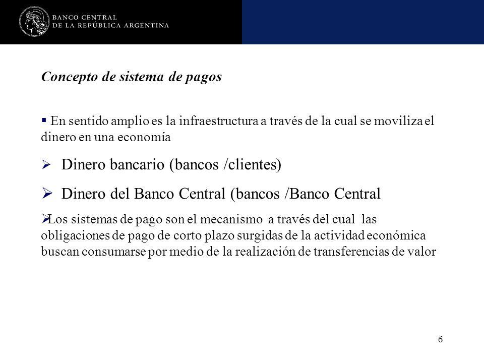 Nombre de la presentación en cuerpo 17 6 Concepto de sistema de pagos En sentido amplio es la infraestructura a través de la cual se moviliza el diner