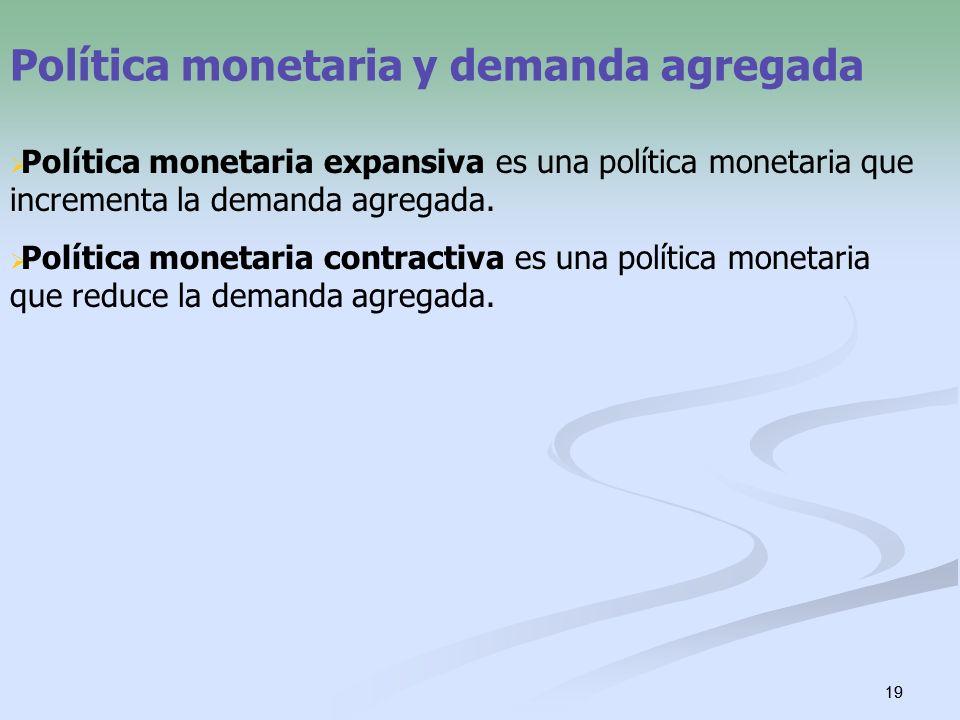 19 Política monetaria y demanda agregada Política monetaria expansiva es una política monetaria que incrementa la demanda agregada. Política monetaria