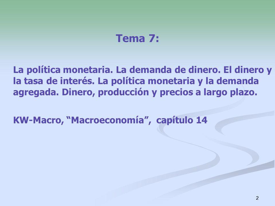 2 Tema 7: La política monetaria. La demanda de dinero. El dinero y la tasa de interés. La política monetaria y la demanda agregada. Dinero, producción