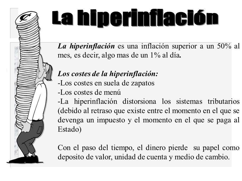 La inflación imprevista redistribuye arbitrariamente la riqueza entre las personas Ejemplos: los prestamos a largo plazo, la personas que perciben una