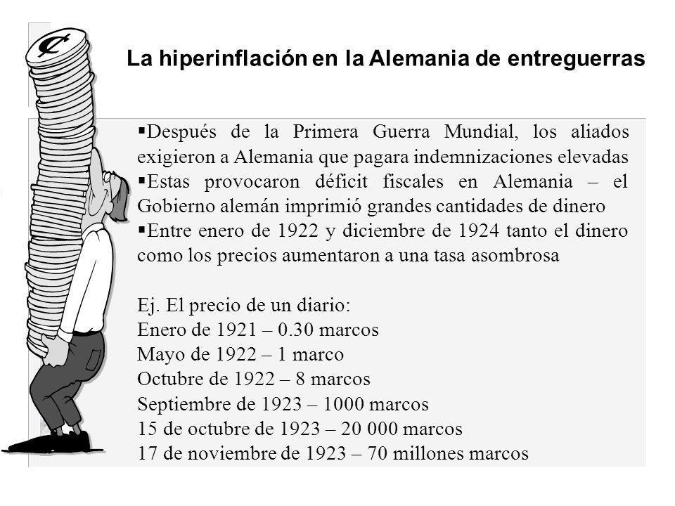 Las causas de la hiperinflación: -Un excesivo crecimiento de la oferta monetaria -La política fiscal: el Estado no tiene suficientes ingresos fiscales