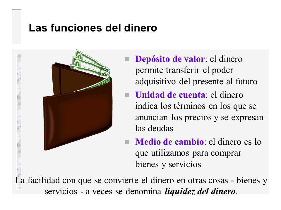 El dinero Cantidad de activos Utilizado para transacciones Un tipo de riqueza El dinero = la cantidad de activos que pueden utilizarse fácilmente para