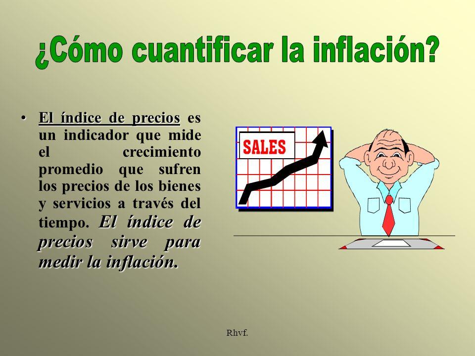 Rhvf. El índice de precios El índice de precios sirve para medir la inflación.El índice de precios es un indicador que mide el crecimiento promedio qu