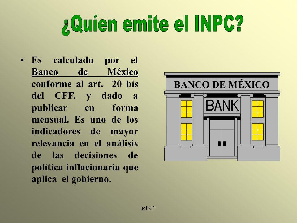 Rhvf. Banco de MéxicoEs calculado por el Banco de México conforme al art. 20 bis del CFF. y dado a publicar en forma mensual. Es uno de los indicadore