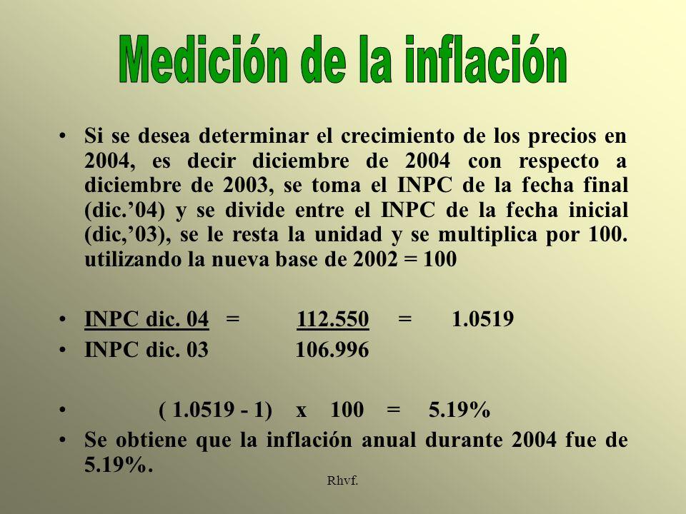 Rhvf. Si se desea determinar el crecimiento de los precios en 2004, es decir diciembre de 2004 con respecto a diciembre de 2003, se toma el INPC de la